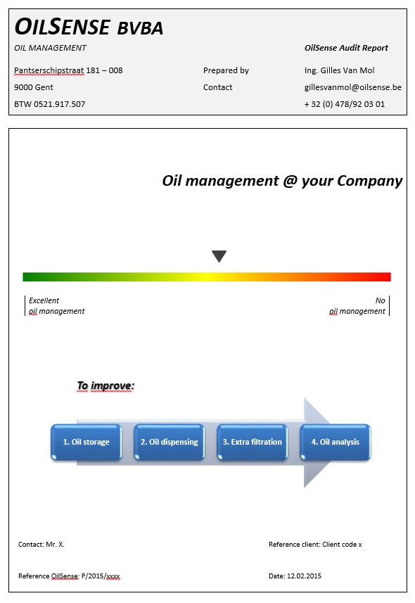 OilSense oil analysis report Oil analysis